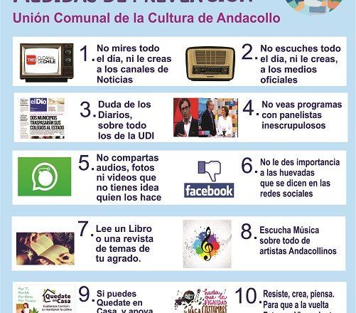 Unión Comunal de la Cultura llama a la Prevención por el Covid 19